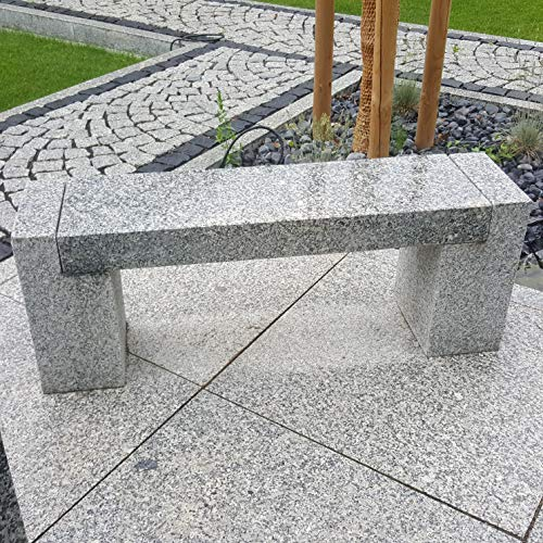 AUPROTEC Gartenbank Steinbank Naturstein Granit grau 3 Teilige Sitzbank L/B/H 120x30x45 cm