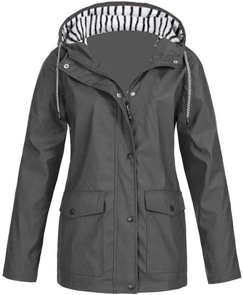 WANGPU Women Rain Jacket with Hood Lightweight Waterproof Rain Coats for Women Breathable Poncho Plus Size Trench Raincoat