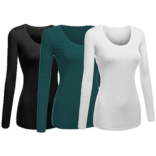 1039ac76 Emmalise Women's Plain Basic Cotton Spandex Scoop Neck Long Sleeve T Shirt