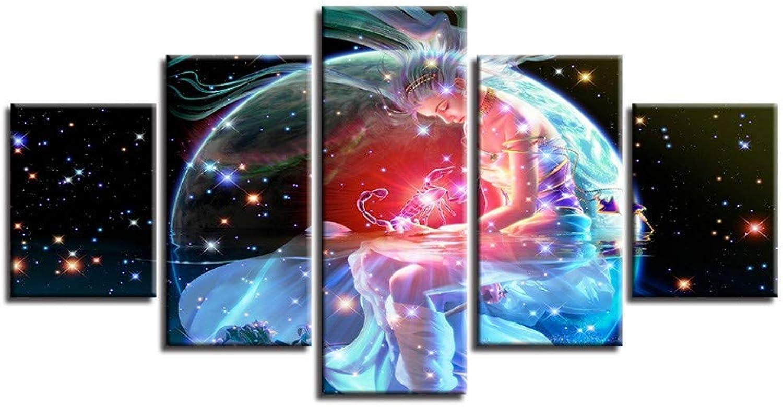 popular Giow Lienzo HD Impreso Cochetel Cochetel Cochetel Arte de La Parojo Marco 5 Unidades Signos del Zodiaco Escorpio Pintura Fantasía Constelación Mujer Imágenes Decoración para el hogar  bienvenido a comprar