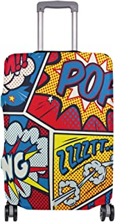Mydaily Retro Pop Art Comic Luggage Cover Fits 30-32 Inch Suitcase Spandex Travel Protector XL