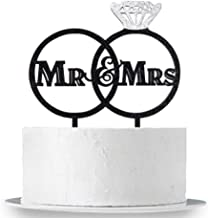 INNORU Mr & Mrs Cake Topper, Black Acrylic Big Diamond Ring Happy Wedding Engagement,Bride to Be Party Decorations