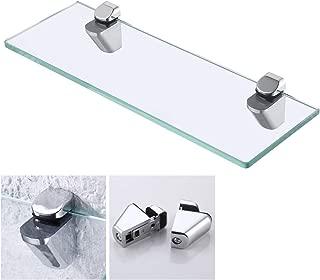KES 14-Inch Bathroom Tempered Glass Shelf 8MM-Thick Wall Mount Rectangular, Polished Chrome Bracket, BGS3202S35