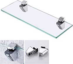 KES 14-Inch Bathroom Tempered Glass Shelf 8MM-Thick Wall Mount Rectangular, Polished Chrome Bracket, BGS3202S35