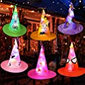 Siebird 6-Pack Halloween Waterproof Lights Witch Hats
