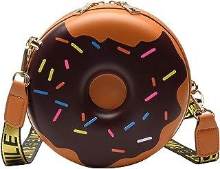 Girl cute donut messenger wallet bag female dessert round shoulder bag wallet card bag girl female student gift parent-child (Brown, Small)