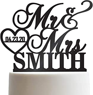 Personalized Wedding Cake Topper Mr Mrs Heart Customized Wedding Date And Last Name To Be Bride & Groom | Solid Color Cake Toppers