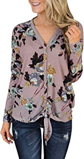 Gemijack Womens Floral Tie Knot Henley Tops Button Down Shirts Long Sleeve Waffle Knit Blouses