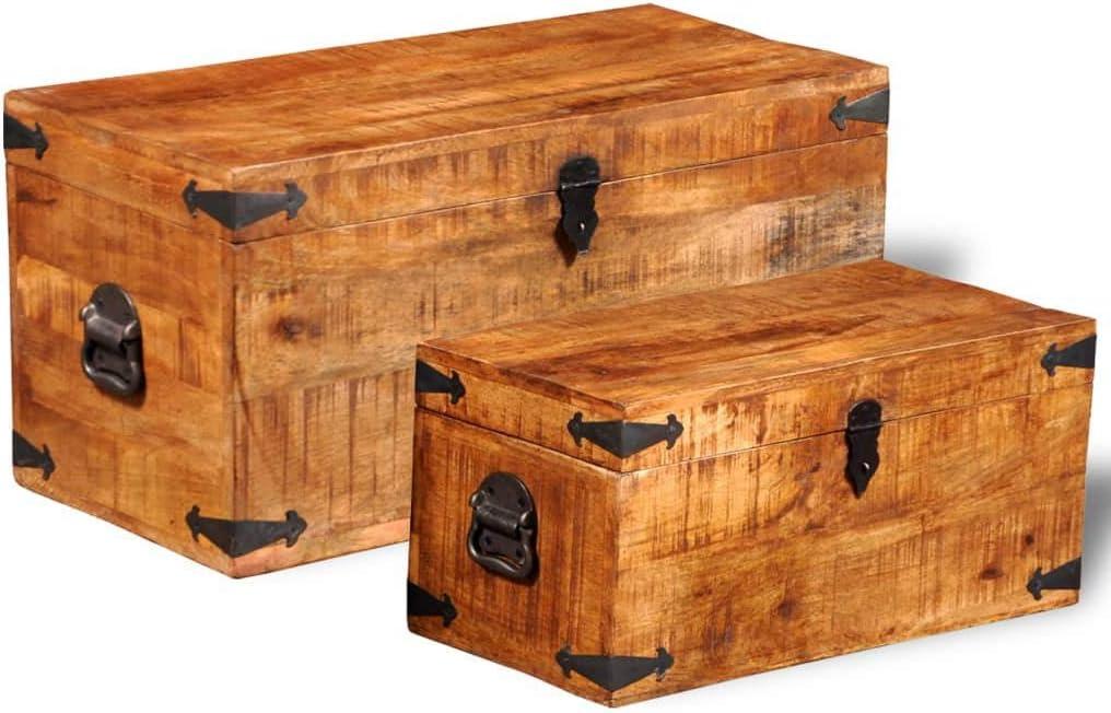 vidaXL Set of service 2 Ranking TOP6 Mango Wood Storage Boxes Chests Blanket Toy Trun