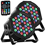MOSFiATA Par Lights DMX, RGB 36 LED DJ Stage light Sound Activated 7 Modes Uplighting with Remote Control DJ Equipment for Church Club Christmas Wedding Party Indoor Event Dance (2 Pack)