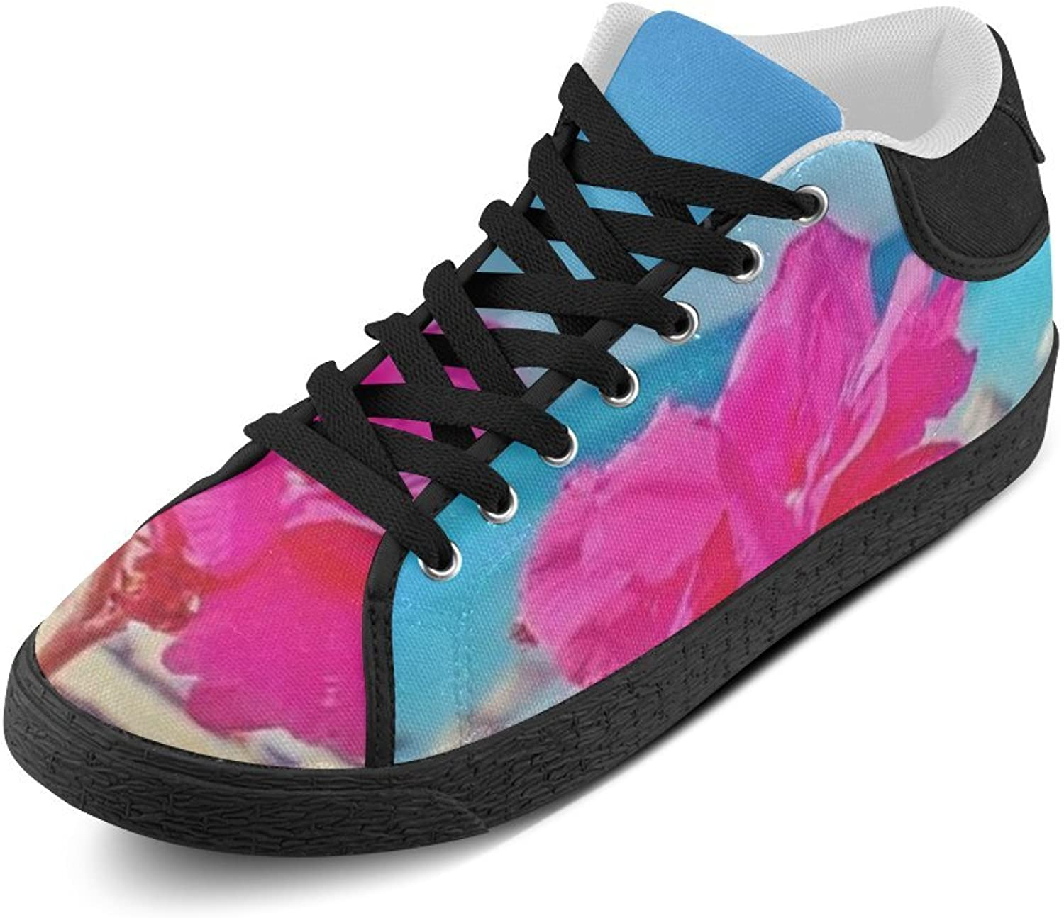 CERLYRUAN Beach and Pink Flower Canvas Chukka Canvas Women's shoes