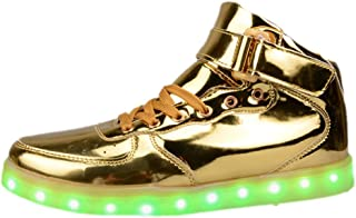 Women Men Unisex High Top USB Charging LED Shoes Flashing Sneakers