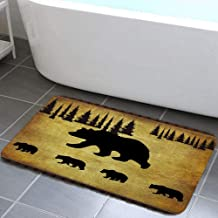 Animal Black Bear Design Bathroom Rug, Non Slip Bath Mat with Black Bear Forest Trees Rustic Cabin Bathroom Accessories Sh...