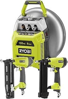 Ryobi 6 Gal. 150 PSI-Output Electric Pancake Compressor with Ryobi 18-Gauge Brad Nailer and 16-Gauge Finish Nailer Tool Combo Kit, Vertical Tank for Improved Center of Gravity, Includes 25ft Hose