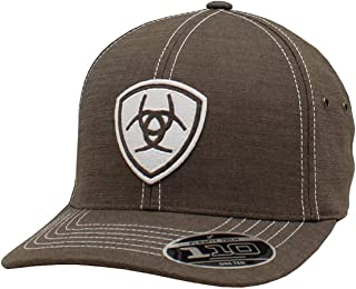 قبعة ARIAT للرجال ذات شعار Flex Fit بيضاء رمادية