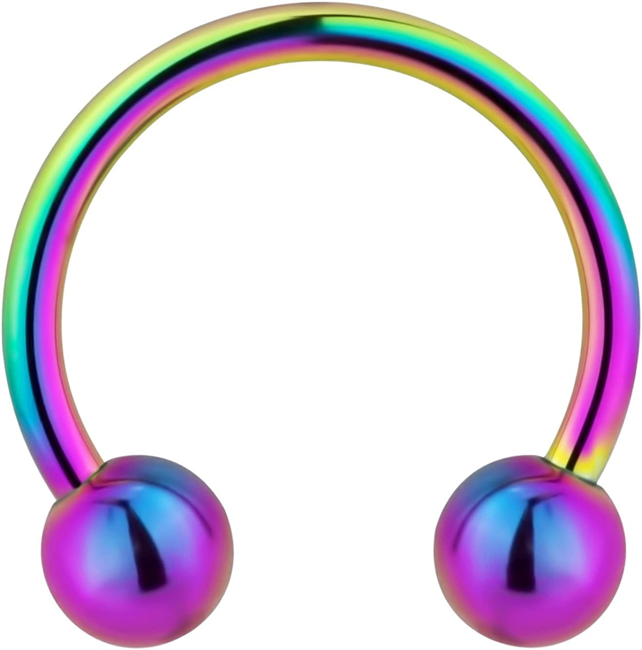 Forbidden Body Jewelry 14g 12mm Surgical Steel Rainbow IP Plated Horseshoe Ball Ring, 5mm Balls