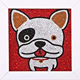 Piero Lusso Easy Diamond Painting Kits for Kids Full Drill by Number Rhinestone with Wooden Frame Pictures Arts Craft for Home Wall Decor Gift French Bulldog 6X6 Inches