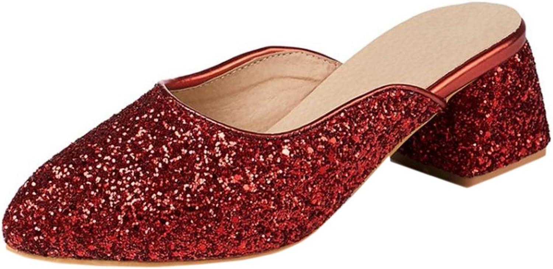 KemeKiss Women Shiny Thick Heel Mules