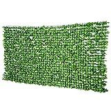 Outsunny Haie Artificiel érable Brise-Vue décoration Rouleau 3L x 1,5H m Feuillage réaliste Anti-UV Vert