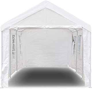 Tangkula 10' x 20' Carport Canopy Tent Outdoor Garden Garage Party Wedding Tent Instant Shelter Versatile Shelter with Sidewalls Waterproof Heavy Duty Car Canopy with 8 Steel Legs, White