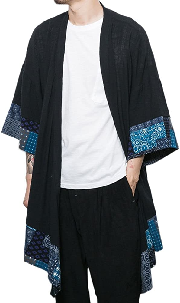 Idopy Men`s Vintage Cotton Linen Cloak Poncho Cape Coat Cardigan Kimono