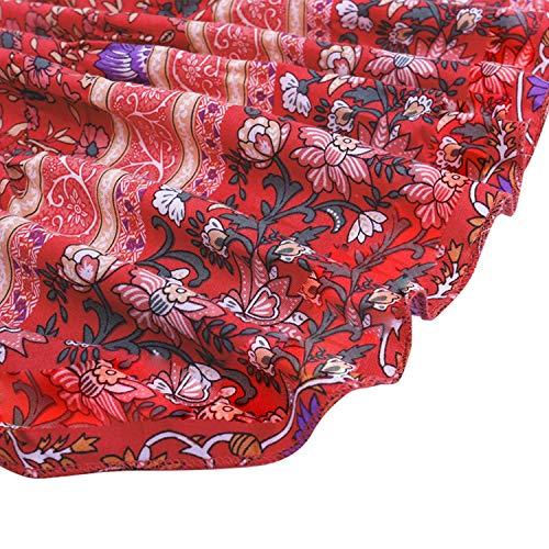 Snyemio Mujer Vestido de Verano con Estampado Floral Cuello en v para Cortos Playa Casual Mini Tops, Rosa, M