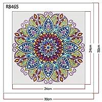 """大人のための5DDIYダイヤモンド塗装キットフルドリル フルダイヤモンドクリスタルラインストーン、家の壁の装飾のためのクラフトギフトが含まれています スペシャルクリスタルヒマワリセット曼荼羅飾り-12""""x12"""" 8"""