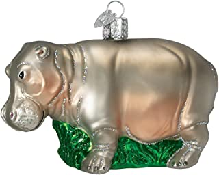 Old World Christmas Zoo and Wildlife Animals Glass Blown Ornaments for Christmas Tree Hippopotamus