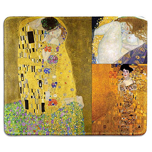 dealzEpic - Art Mousepad - Natural Rubber Mouse Pad Printed with Gustav Klimt Art Collage - Stitched Edges - 9.5x7.9 inches