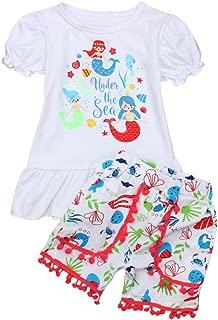 Conjunto de Ropa de Verano - Parte Superior y Pantalones Cortos de Playa Estampado de Sirena - Manga Corta - para bebé niña