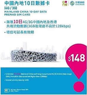 【中国移動香港】4G/3G 中国/香港10日間 3GBデータプリペイドSIM [並行輸入品]