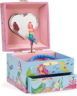 Jewelkeeper Mermaid Girl's Musical Jewelry Box, Underwater Design Pullout Drawer, Over The Waves Tune