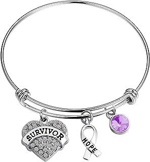 BAUNA Pancreatic Cancer Awareness Gift Cancer Survivor Purple Jewelry リボンチャーム 膵臓がん/アルツハイマー/嚢胞性線維症/てんかん用