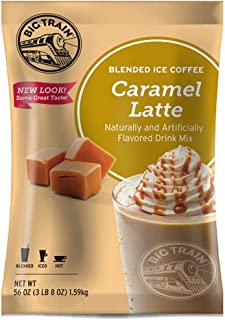 Big Train Blended Ice Coffee Caramel Latte 3 Lb 8 Oz (1 Count), Powdered Instant Coffee Drink Mix, Serve Hot or Cold, Makes Blended Frappe Drinks