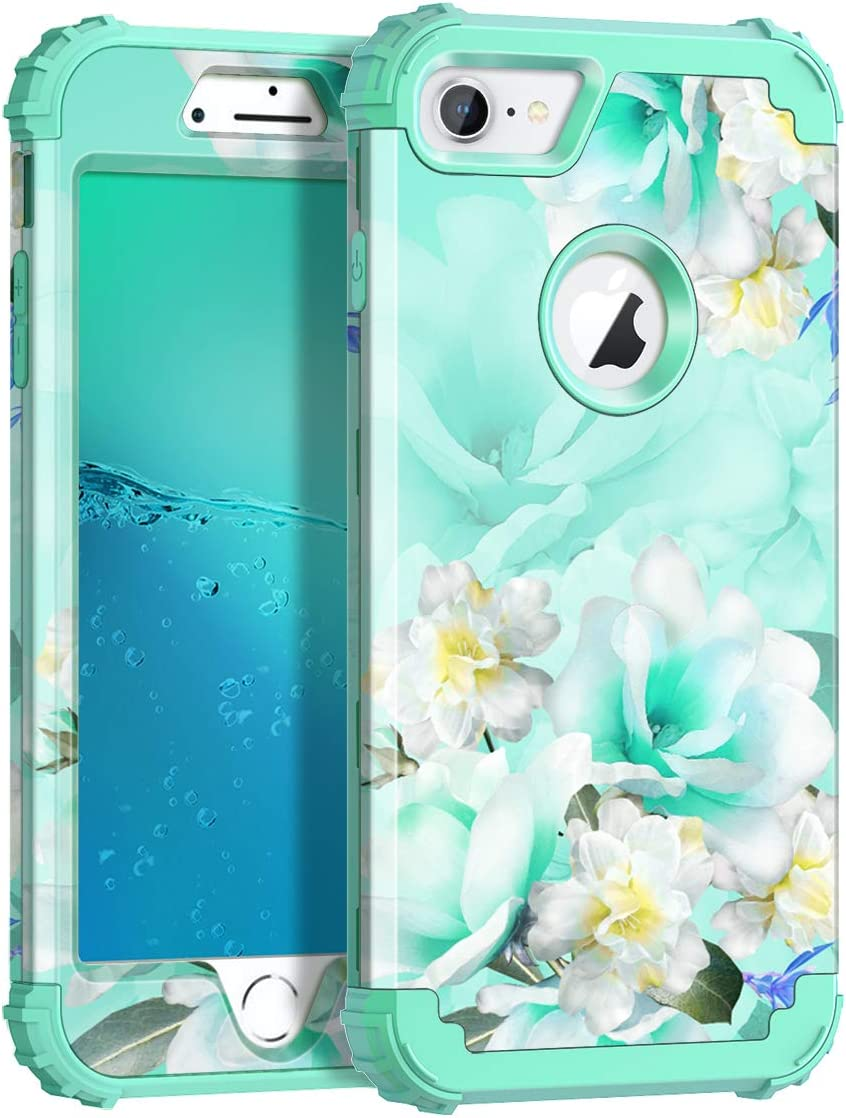 Casetego Compatible with iPhone 8 Case,iPhone 7 Case,Floral Three Layer Heavy Duty Hybrid Sturdy Shockproof Protective Cover Case for Apple iPhone 8/7,Green/White