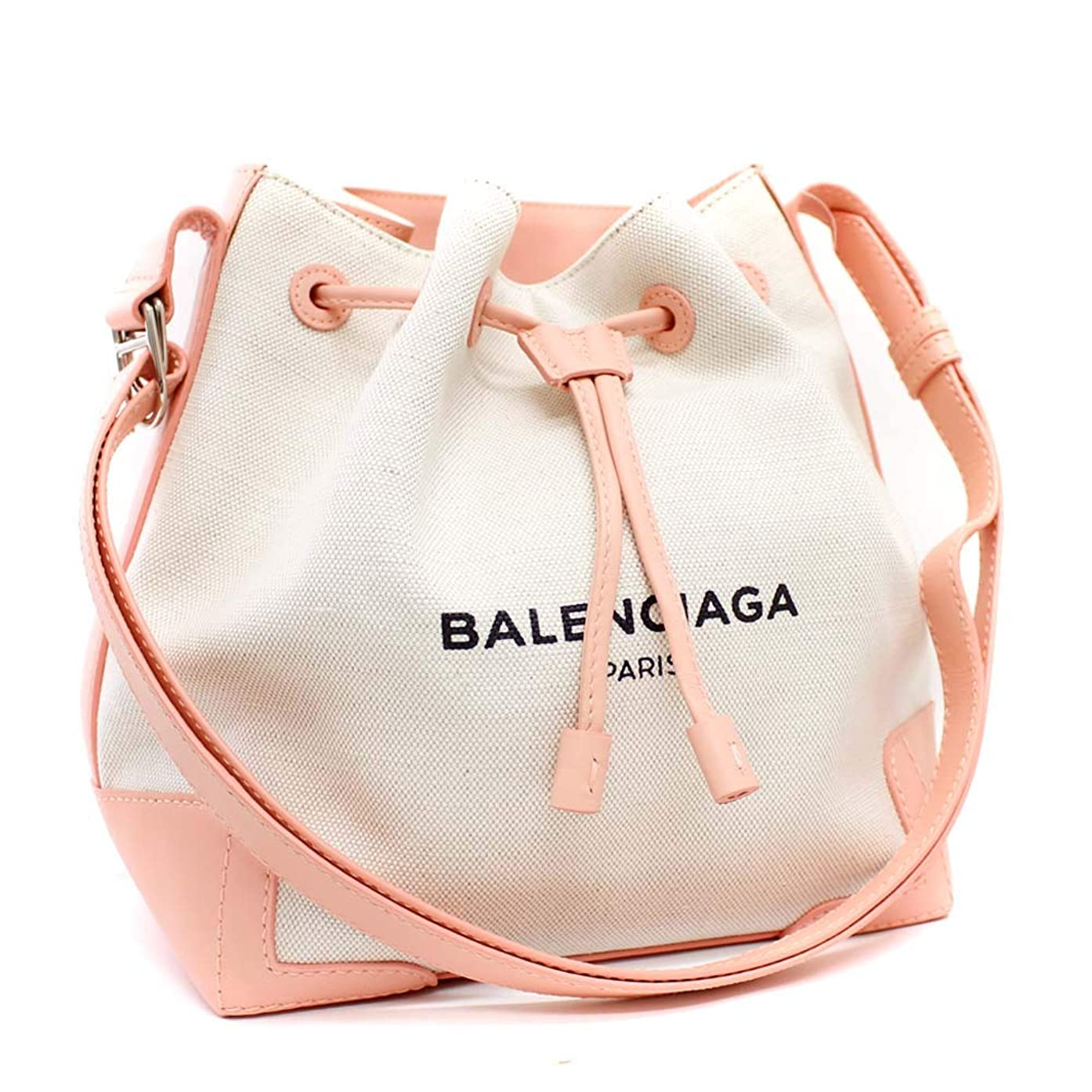 先住民消すジレンマバレンシアガ BALENCIAGA ネイビー バケット 巾着型 409000 ショルダーバッグ ピンク レディース キャンバス レザー [中古]