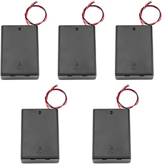 Karcy 5Pcs 3 Cell 1.5V AA Battery Holder Case Power Box Battery Spring Clip Wired with Cover ON/Off Switch (3 Cell)