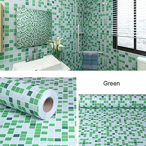 LZYMLG Bad Aufkleber Wasserdichte Wandaufkleber Küche Wc Dekoration Tapete Pvc Selbstklebende Tapete Fliesen Dekorfolie Grün