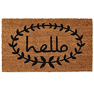 Home & More 121812436 Calico Hello Doormat, Natural/Black, 24  x 36  x 0.60