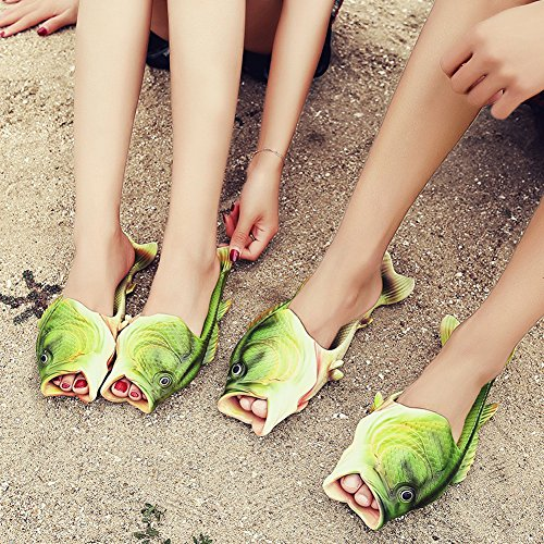 Creative Fish Slippers, Handmade Bass Fish Sandals Flops Slides - gag gift idea for guys in college