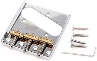 Musiclily Pro 54mm Guitar Telecaster Bridge Assembly with 3 Brass Saddles for Tele Style Electric Guitar, Chrome