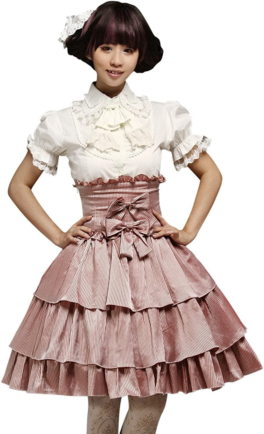 Hugme Dandy Pink MultiLayer Bow Polyester Lolita Skirts
