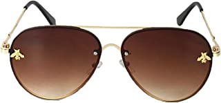 Fashion Culture Women's Beehave Bee Charm Aviator Sunglasses, Brown Ombre