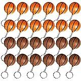 Heqishun 24 Pezzi Portachiavi di Pallacanestro Portachiavi da Basket per Favori di Partito e Ricompensa del Carnevale Scolastico Regali Creativi per la Festa a Tema del Basket Arancione e Marrone
