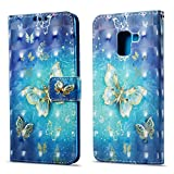 Funluna Samsung Galaxy A8 2018 Hülle, Flip Handy Stoßfest Lederhülle Brieftasche, Trageschlaufe, Kartenfächer, Magnetverschluss Handytasche für Samsung Galaxy A8 2018 - Blauer Schmetterling