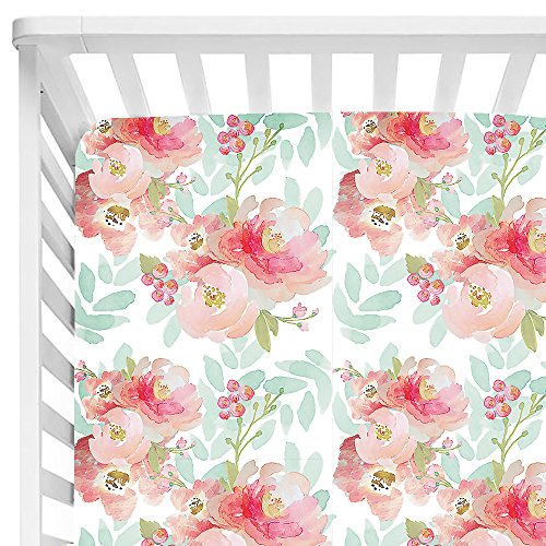 Baby Floral Fitted Crib Sheet for Boy and Girl Toddler Bed Mattresses fits Standard Crib Mattress 28x52' (Pink Mint Floral)