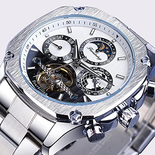 Excellent Reloj automático mecánico de Hombres para Hombres con dial Azul y Reloj de Pulsera de Acero Inoxidable de Esqueleto Relojes de Fase de Luna a Prueba de Agua para Hombres,A04