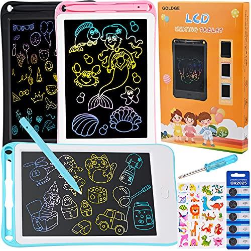 Pizarra de colores LCD para niños, dorada, 3 unidades, pantalla LCD de 8 pulgadas, para niños y niñas