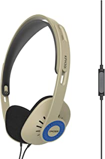 Koss KPH30iRB On-Ear Headphones, in-Line Microphone and Touch Remote Control, D-Profile Design, Wired with 3.5mm Plug, Rhythm Beige