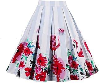 XINHEO Womens A-line Flare Summer Retro Pleated Midi Casual Leisure Skirt
